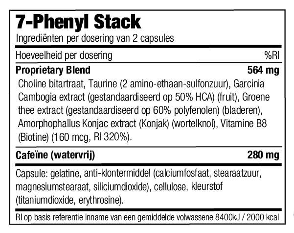 Ingrediënten Stacker 2 7 Phenyl Stack - jokasport.nl