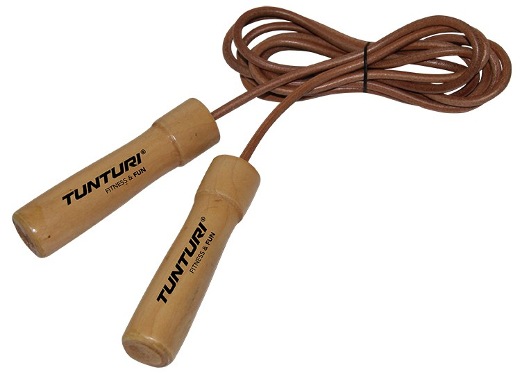 Tunturi Skipping Rope / Sprintouw leer / leather - jokasport.nl