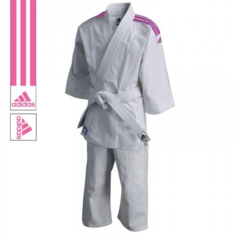 adidas Judopak J200 Evolution Wit/Roze - jokasport.nl