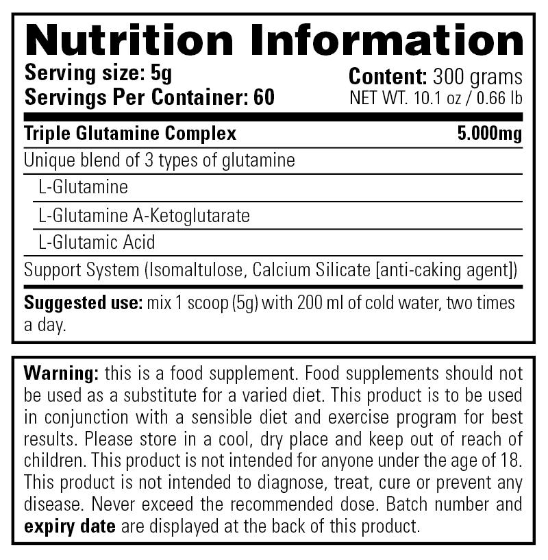 Complete Glutamine - Nutrition Information