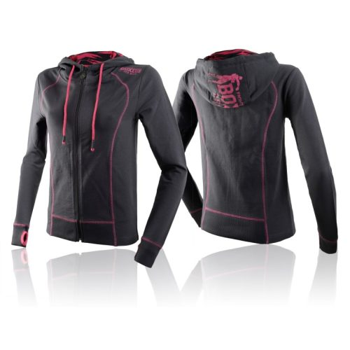 Boxeur des Rues Lady Hooded Full Zip Sweatshirt - Anthracite Fuxia - jokasport.nl