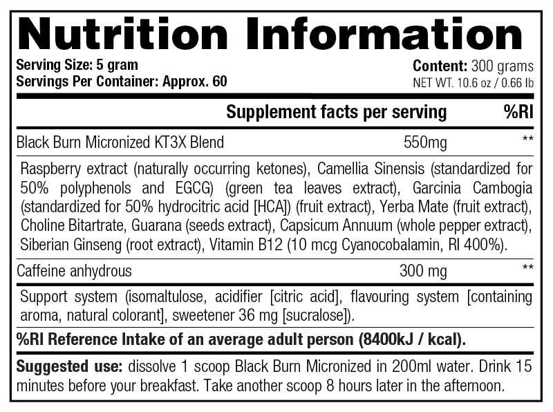 Black Burn Micronized - Nutrition Information
