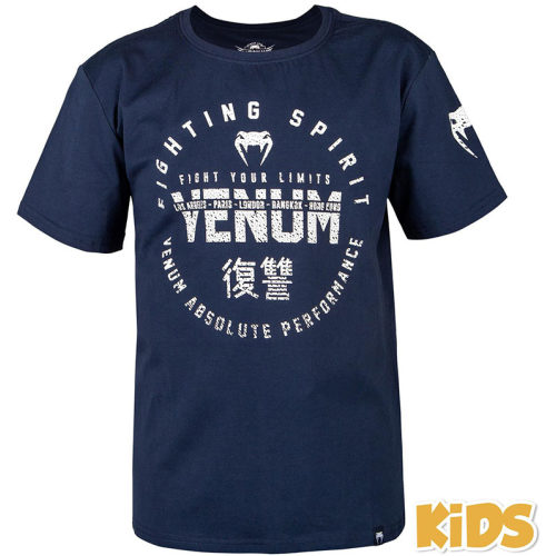 Venum Signature Kids T-Shirts Navy Blue - Jokasport.nl