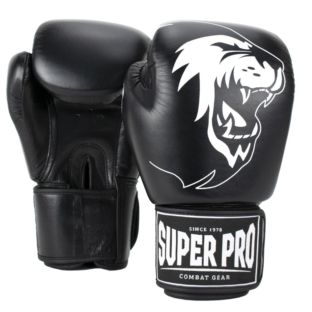 Super Pro Warrior Bokshandschoenen Leer Zwart/Wit - Jokasport.nl