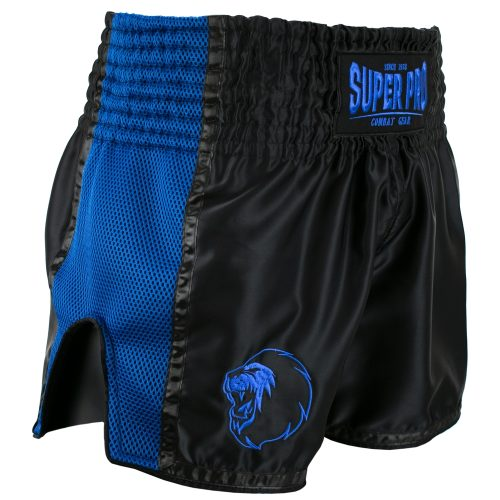 Super Pro Kickboksshort Brave Zwart/Blauw - Jokasport.nl