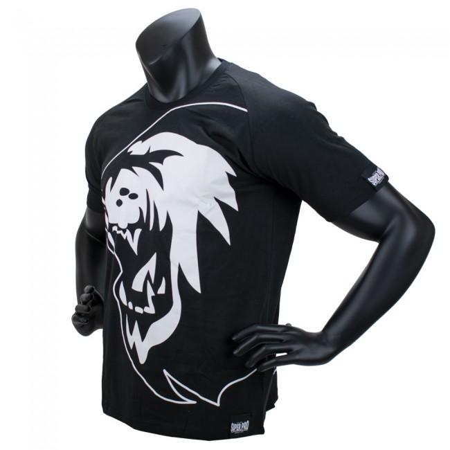 Super Pro T-Shirt Lion Logo - Katoen - Zwart/Wit-530346