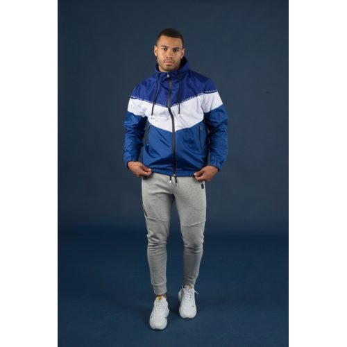 M Double You Windbreaker Jacket Blauw met wit - jokasport.nl