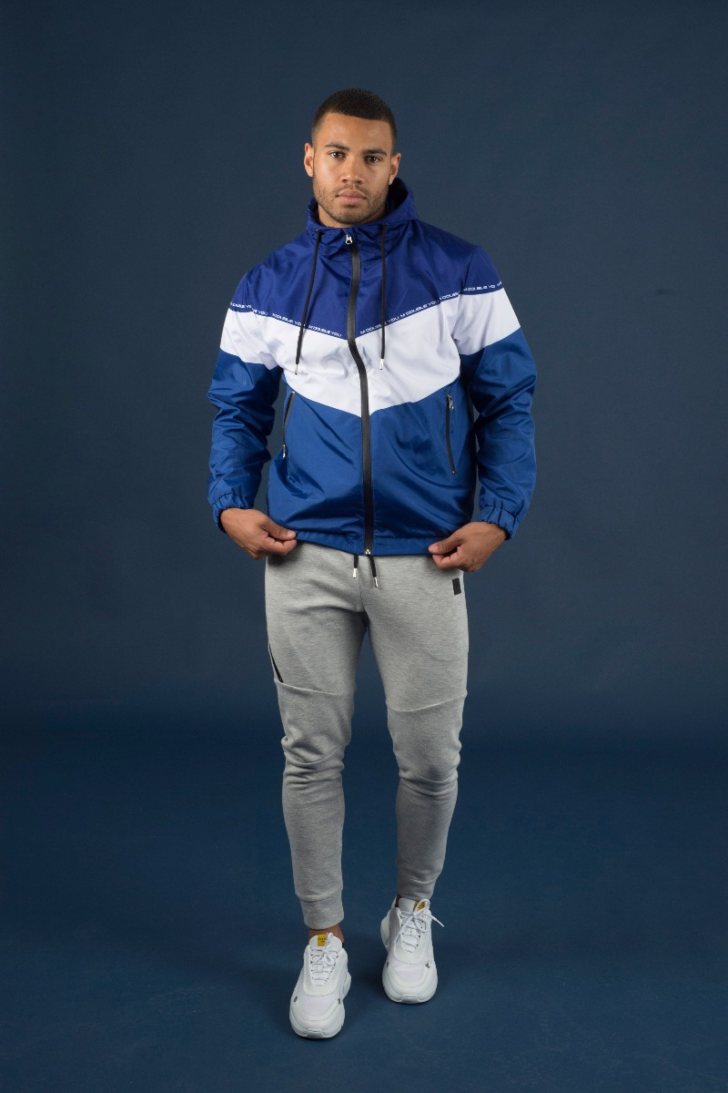 M Double You Windbreaker Jacket Blauw met wit - jokasport.nl