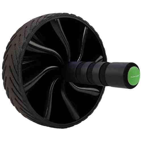 Tunturi Ab Wheel Buikspierwiel Anti Slip - Zwart - Groen - jokasport.nl