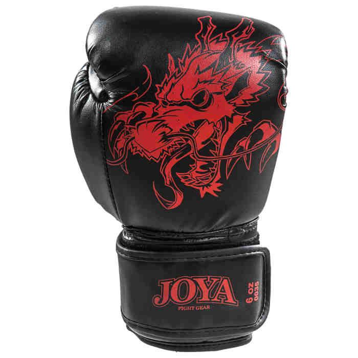 Joya Dragon Kickbokshandschoenen PU - Zwart Rood - jokasport.nl