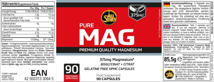 All Stars Pure MAG Magnesium Supplement 90 porties - jokasport.nl