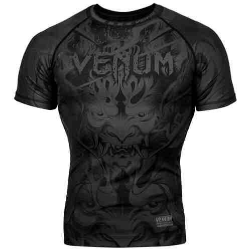 Venum Devil Rashguard - Korte Mouwen - Volledig Zwart-0
