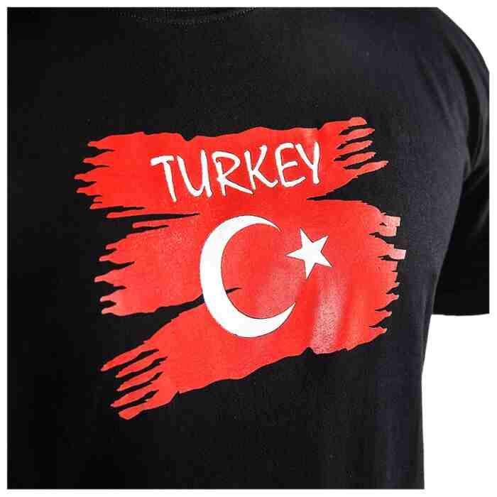 Joya Vlag T - Shirt - Turkije - Zwart-541995