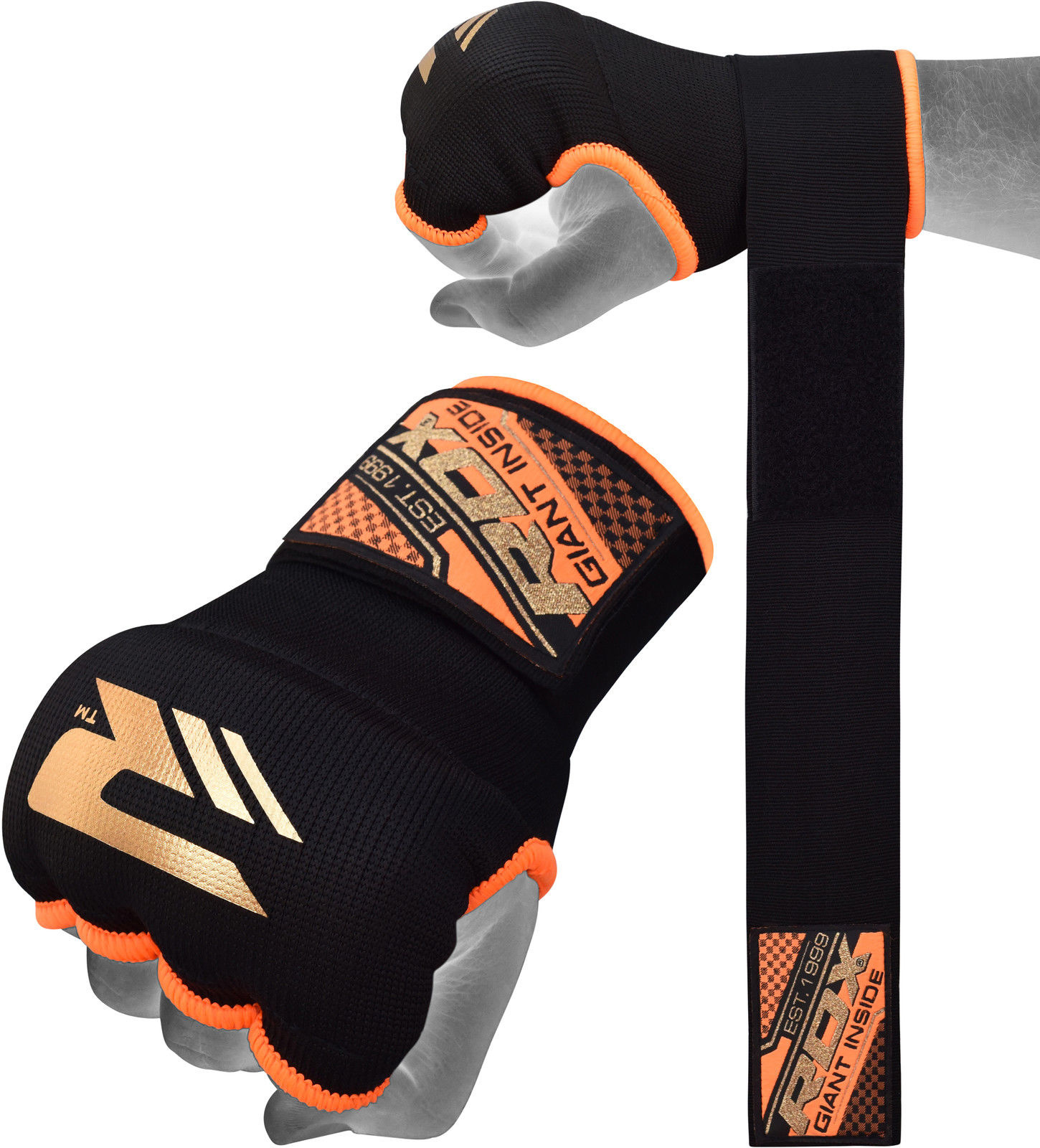 RDX Sports Binnenhandschoenen met padding - Oranje-0