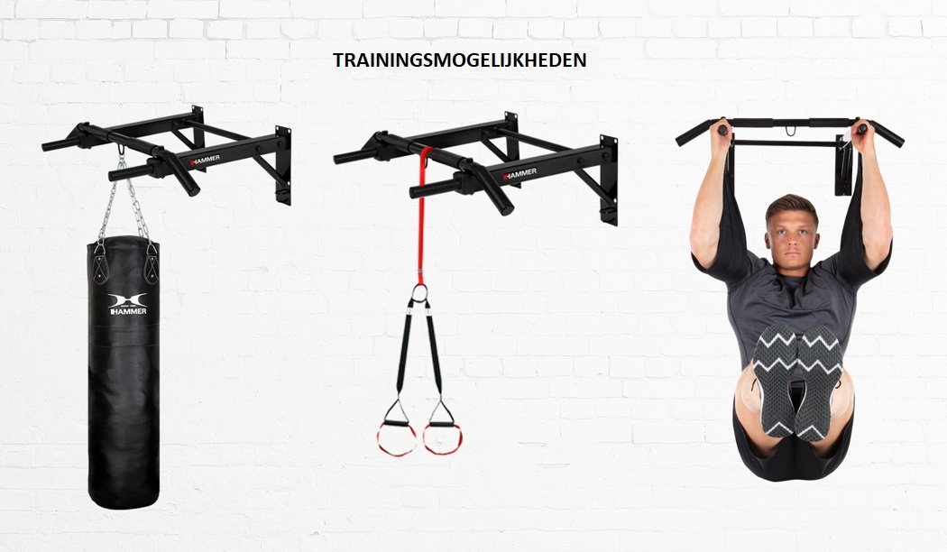 Hammer Optrekstang – met lifting hooks en push-up bars 3