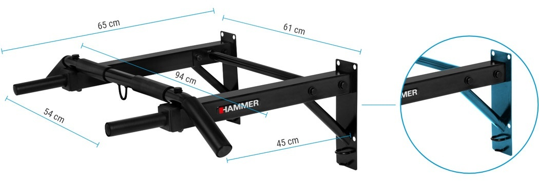 Hammer Optrekstang – met lifting hooks en push-up bars 5