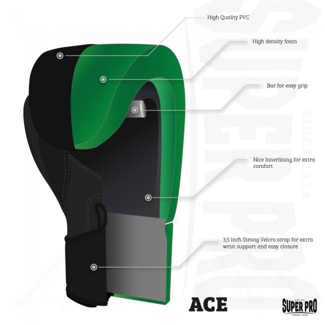 Super Pro Combat Gear ACE (kick)bokshandschoenen Zwart-Wit 8