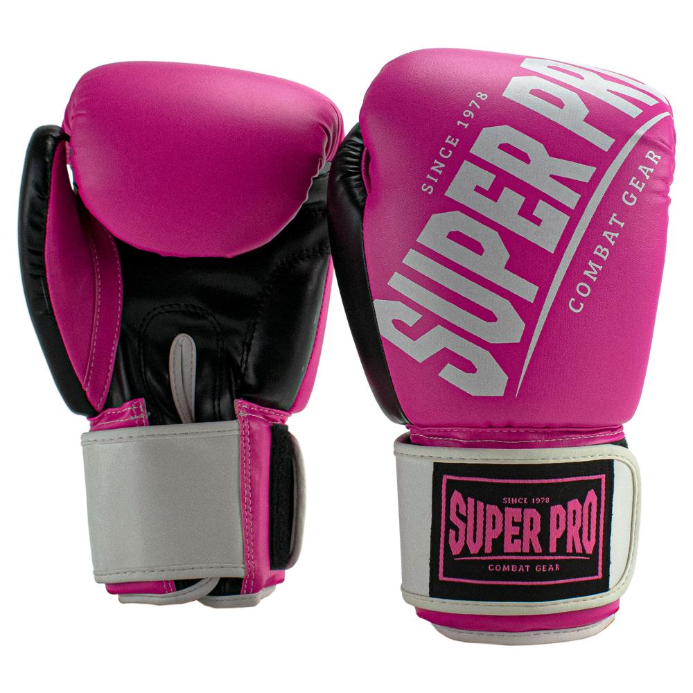 Super Pro Kickbokshandschoenen Rebel Zwart - Roze - Wit