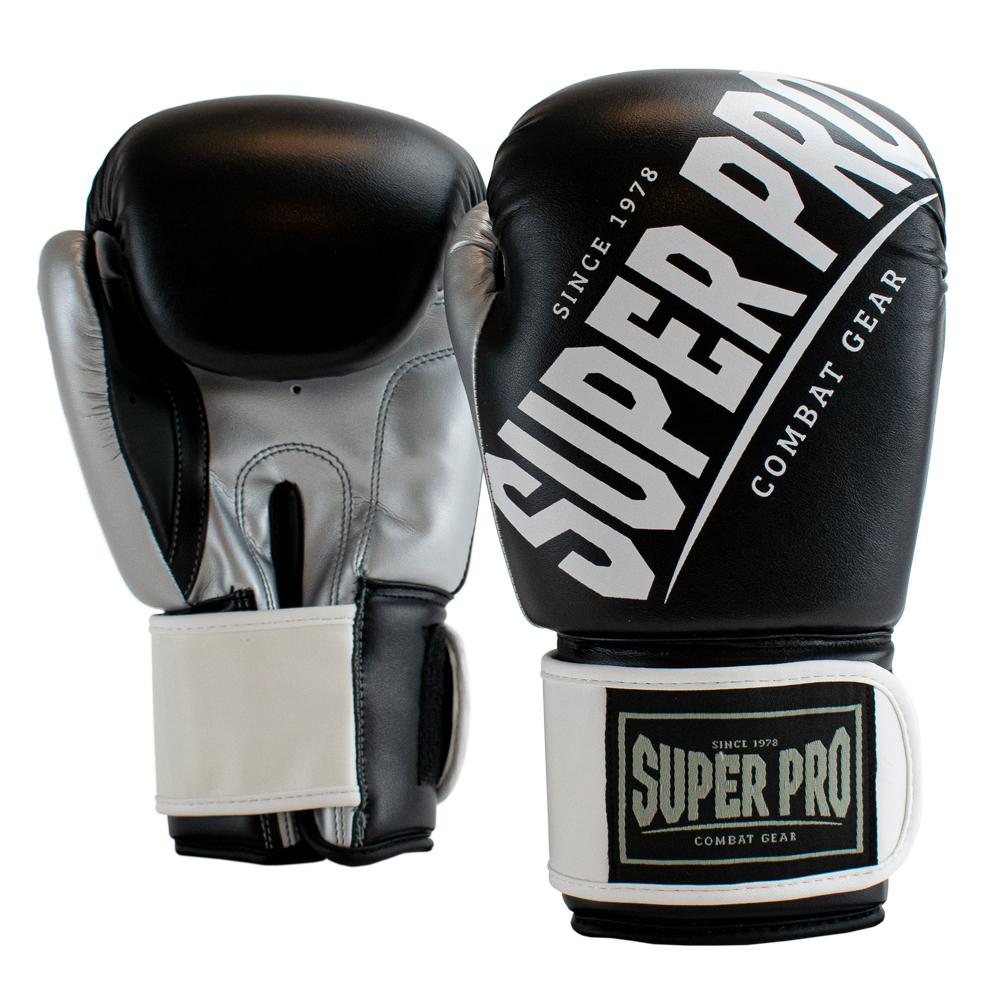 Super Pro Kickbokshandschoenen Rebel Zwart - Grijs - Wit